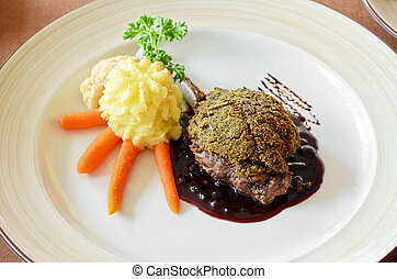 venison with whortleberry sause