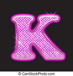 K letter pink bling girly