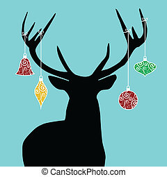 Christmas reindeer silhouette with decorations hanged from...