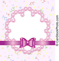 Vector illustration of a frame of flower with bow on birthday theme background