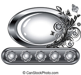 Vector illustration of an oval frame with flower ornament isolared on white background.