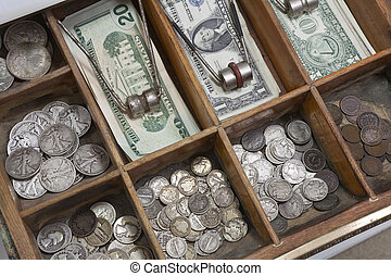 Vintage Money Drawer - Vintage money drawer with old US...