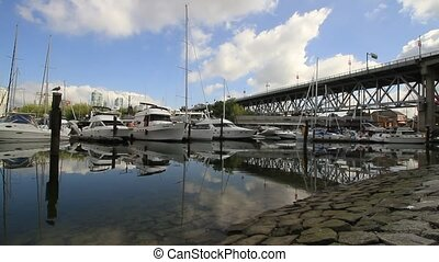 Marina by Granville Street Bridge in Granville Island in...