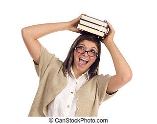 Ethnic Student with Books on Her Head Over White