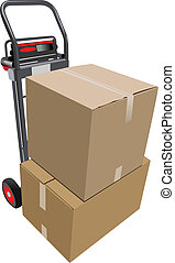 Boxes on hand pallet truck. Vector