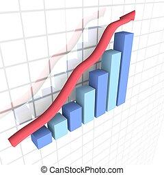 Business financial 3D graph - 3D image of a business...
