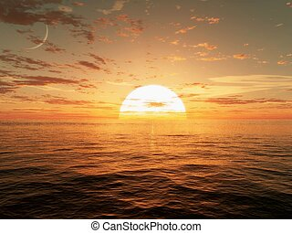 Sunset over the ocean - 3d CG image of the sun setting over...