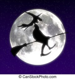 Witch on broom - Cg image of a witch in front of the moon