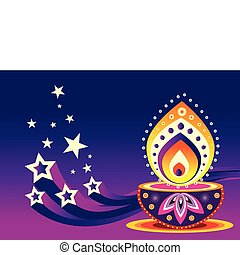 Oil Lamp - Colorful Indian pattern