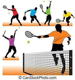 6, tênis, jogadores, silhuetas, jogo
