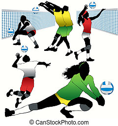 Volleyball Players Silhouettes Set