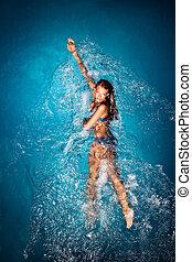 baigner, bleu