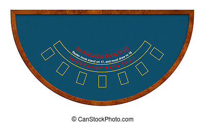 Blackjack table isolated over white background