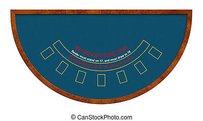 Blackjack table isolated over white background