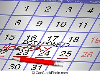 Canceled holiday - Days marked on a calendar as a holiday...
