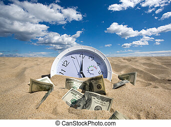 Lost Time and Money Concept - sand absorbs time and money