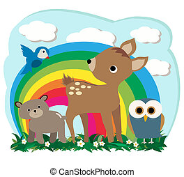 Forest Animals - Vector Illustration of cute bear fawn owl...