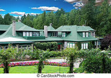 House with flower garden - Big beautiful House with colorful...