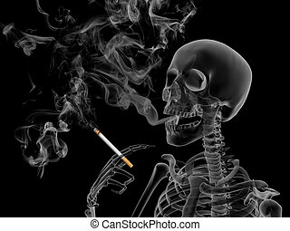 Smoking kills - Conceptual 3d render the effects of nicotine...