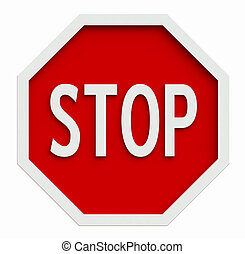 Stop sign - 3d render of traffic stop sign isolated on white
