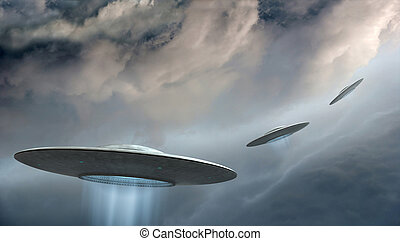 Flying saucers - 3d render of flying saucers ufo on dramatic...