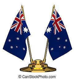 Flagpole with flag of Australia
