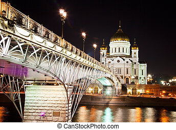 Orthodox church of Christ the Savior at night, Moscow