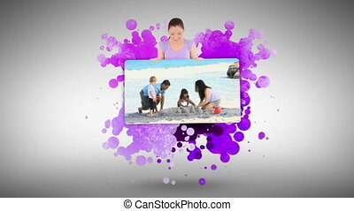 Woman showing a family on holidays against a spotted...