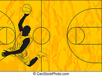Basketball player - Vector basketball player on orange...