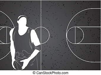 Basketball player - Vector basketball player on gray...