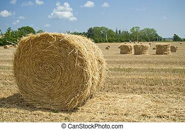 Straw Bales on farmland near Budapest in Hungary