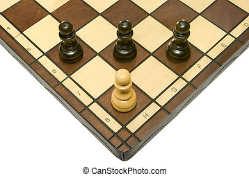 Troubles - Pawns (three black and one white) on a chess...