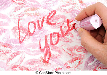 Love card - Print of lips kisses with words love you on it,...