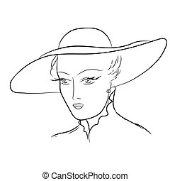 Hand draw young woman in hat. EPS 8