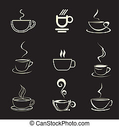 Coffee Cup - vector icon - Cups of Coffee - set of isolated...