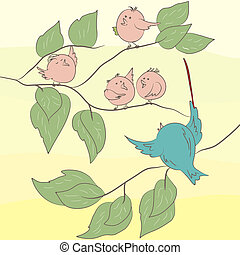 Birds on the branch. EPS 8