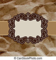 Old card design, brown vintage frame. EPS 8