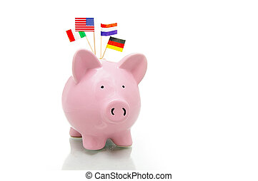 US and European flags and piggy bank on white