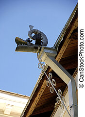 Downpipe - The modern drainpipe is established on the house