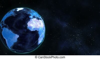 Connected blue planet globe turning on itself about global...