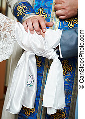Blessing at church wedding ceremony - Close-up orthodox...