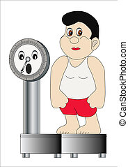thick man on weight which scare - illustration thick man on...