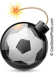 Abstract football shaped like a bomb Illustration on white...