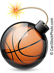 Abstract basketball shaped like a bomb. Illustration on...