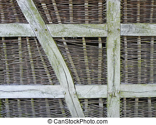 A wickerwork wall at a shack in North Germany - The...