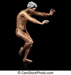 transparent - a male model where the skeleton shows thru the...