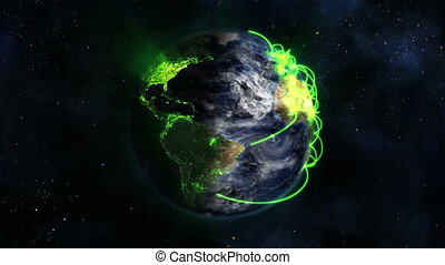 Shaded and lighted Earth with green connections and moving...