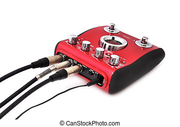 Guitar multi effects pedal isolated on white