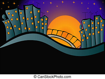 background lights of the night city - illustration...