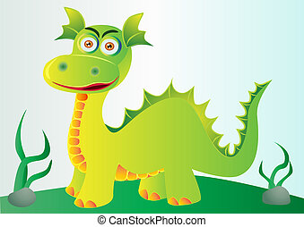 nice green dragon on hillock with herb - illustration nice...